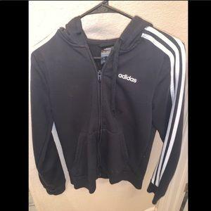 Black&White striped Adidas Zip-Up Hoodie